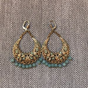 Jewelry - Gold chandelier earrings blue/champagne crystals
